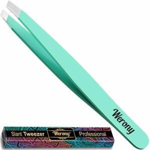 Tweezers for Women - Slant Tweezers - NEW COLOR - Premium Tweezers green