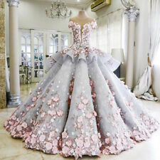 New 3D-Flowers Wedding Dresses Luxury Peplum Bridal Gown Custom Made Size 2- 28