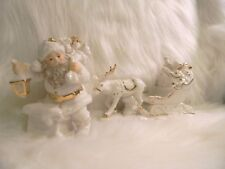 Porcelain Santa Claus Reindeer White Two Piece Old World Christmas OWFIG115