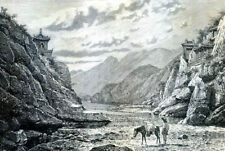Nankow, Southern gate of the Great Wall , China .......Antique  Engraving  1892