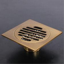 Antique Brass Square Bathroom Shower Floor Drain Waste Water Drainer Brass