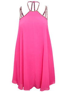 ASOS HOT-PINK Strappy Swing Dress - Size 4 to 18 Open back stylish Party Dress