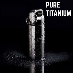 Titanium Pocket Stash Container - Small Keychain Holder Mini Fob Pill Case