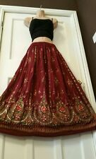 Ladies Indian Boho Hippie Long Sequin Skirt Party Gypsy Dance BURGUNDY color
