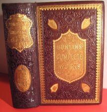 1861 WORKS of JOHN BUNYAN_PILGRIM'S PROGRESS Solomon's Temple HOLY WAR + LEATHER