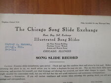 Vintage movie letterhead Chicago song slide exchange song slide record 5-9-1911