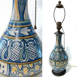"""Vintage Hand Painted 24"""" Pottery Lamp Origin? Moroccan Italian Mexican ? Antique"""