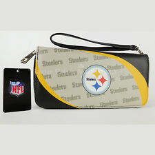 NFL Steelers Womens Wallet Organizer Clutch Wallet Wristlet Curved Zipped