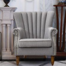 Occasional Wing Chair High Back Fabric Linen Tub Armchair Fireside Living Room