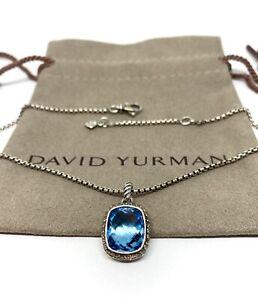 David Yurman Sterling Silver Noblesse 12x10 Blue Topaz Diamond Pendant Necklace