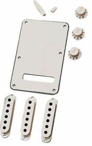 Fender White Back Plate, Vol Tone Knobs, Switch Tip Trem Tip, Pick-up Covers Kit