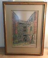 Vintage Mid Century Fredrick F. K. Detwiller Lithograph Signed Coal Miner NY Pa