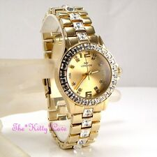 Ladies Yellow Gold Plate Princess Square Cut Crystal Bling Statement Dress Watch