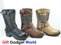 Ladies Ankle Boots Sexy Biker Boots Womens Studded Boots 3 4 5 6 7 8 Black 8163