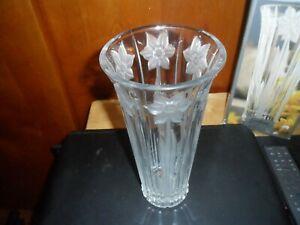"""Botanical Garden Full Lead Crystal 10"""" Daffodil Vase Clear New - Gorham 1831"""