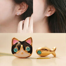 Girl Cat&Fish  Blue Crystal Eye Earring Animal Ear Stud Fashion Jewelry Gifts