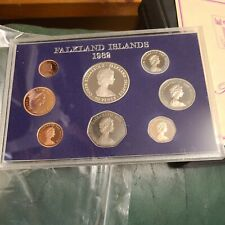 More details for 1982 falkland islands rm proof 8-coin year set inc silver 50p liberation crown