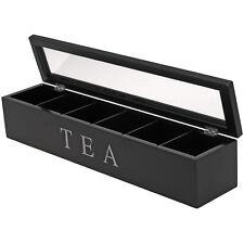 Teebox Holz schwarz Teekiste Teebeutelbox Teedose Teebeutelkiste Tee 6 Fächer