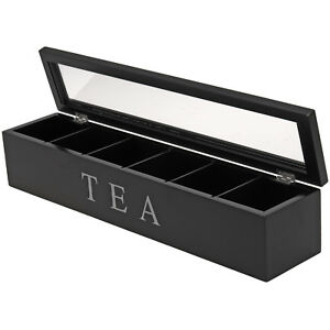 Teebox Teekiste Teebeutelbox Teebeutel Box Holzkiste Teedose 6 Fächer schwarz