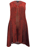 Eaonplus gilet waistcoat jacket plus size 18/20 22/24 26/28 30/32 rust red