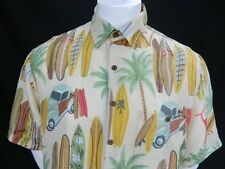 Mens Silk Traders Woodie Surf Board Hawaii By Sunrise Ent USA Silk Shirt Size M