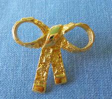 Ribbon Lapel Pin Gold Tone Pinback
