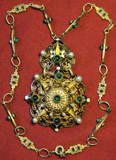 Rare Hobe Green Czech Glass Brass Yellow Enamel Austro-Hungarian Style Necklace