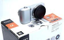 Sony Alpha NEX-3K Silver DSLR Camera E-Mount Body w/ Flash