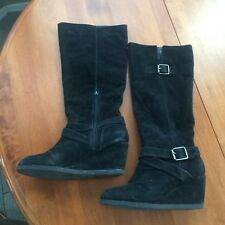 SHI by Journeys Dustin Knee High Wedge Boots Size 10M Medium Black