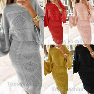 Ladies Womens Chunky Cable Knitted Loungewear Top Skirt Suit 2 Piece Co-Ord Set