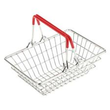 1pc Red Mini Metal Shopping Hand Basket Kids Role Pretend Toy Table Storage
