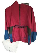 Vintage LL Bean Anorak Windbreaker Pullover Mens XL 1/2 Zip Aztec Red USA