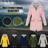 Women Rain Jacket Outdoor Plus Waterproof Hooded Windproof Loose Coat Tops UK