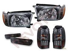 1996-1998 Toyota 4Runner Black Headlights Corner Bumper & LED Tail Lights Set