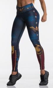 Superhero Tibetan Blue Wonder Woman Style Push-Up Leggings