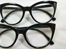 NEW 2 Pairs +1.50 Betsey Johnson Reading Glasses Oversize CAT EYE Black Readers