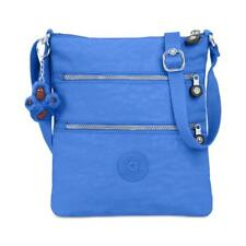 Kipling Keiko Blue Crossbody Triple Pocket Top Zip Monkey Key Chain 💕 $54 NWT