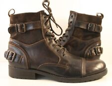 Aldo Dark Brown Leather Buckled Ankle Boots Mens Size US 10.5D
