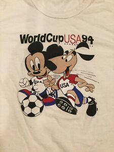Youth L Vintage World Cup 1994 T Shirt By Hanes Striker Dog Mascot Mickey Mouse