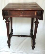 Petite table de couture à 2 rabats, chêne et acajou, Louis 16, à restaurer
