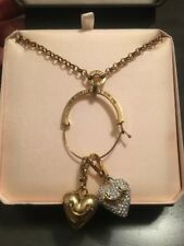 "Juicy Couture Gold Charm & Pave Heart Catcher Pendant 26"" Necklace + Storage Box"