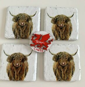 Set of 4 Highland Cows Slate Coasters, home decor, country, hand decorated, gift