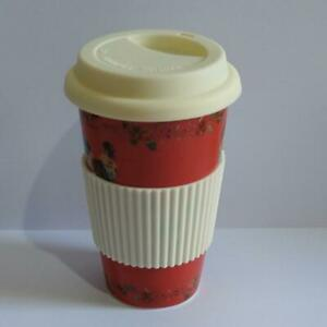 Laura Ashley Travel Mug - Red with Floral and Hen Design - Slight Imperfection