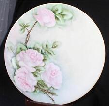 """Vintage LIMOGES France Hand Painted PINK ROSES on STEM 9 1/2"""" Plate"""