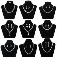 Womens Wedding Bridal Elegant Crystal Teardrop Necklace Dangle Earrings Set