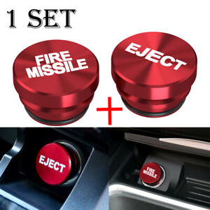 2X Universal Fire Missile Eject Button Cigarette Lighter Cover 12V Accessories