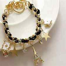 Woman Fashion Eiffel Tower Paris Leather Braid Band Pentacle Poker Bracelet We Pink