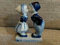 Delfts Blue Hand Painted Boy And Girl Kissing. Dutch Holland Figurine