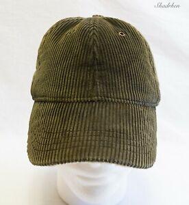 Eddie Bauer Lined Hunting Corduroy Cap Hat Adjustable Strapback Green