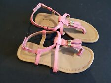 George size 2 (35) pink faux patent leather strappy toe post sandals flats